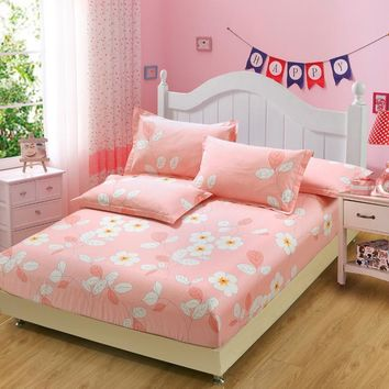 Home Textile Soft Cotton Fitted Sheet pink white flower Mattress Cover Bed Sheet Bedspread Twin Full Queen King Size pillowcase