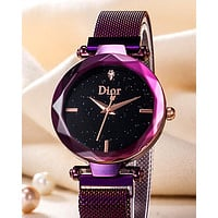 Dior Tide brand women's simple starry women's diamond-encrusted British watch Purple