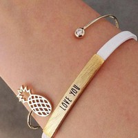 Oly2u 2017 New Fashion Pineapple Cuff Bangles  Fruit and Ball with stone Bangle Ajustable  for Women Party Jewelry Gift -G052