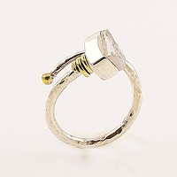 Rough White Quartz Two Tone Adjustable Sterling Silver Ring