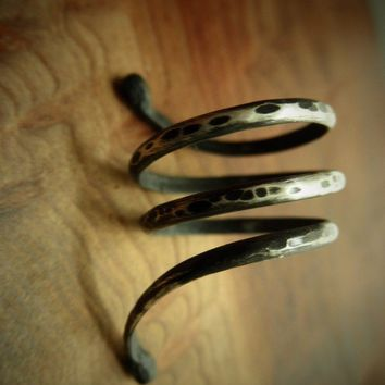 Snake Extra Long Serpent Silver RingDistressed by palefishny