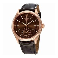Rolex Cellini Brown Guilloche Dial Automatic Mens 18K Everose Gold Leather Watch 50525BRSBRL