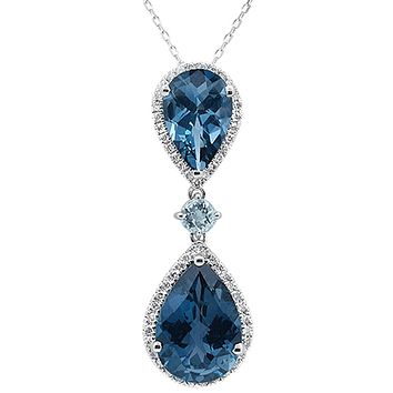 10K White Gold 16.4TCW Pear Cut London Blue Topaz Ethically Mined Diamond Halo Necklace