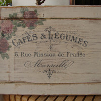 distressed ivory,solid wood,French sign-header/pediment panel-French advertising & faded roses