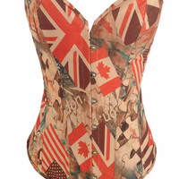 Flag And Puzzle Print Corset And Front Button