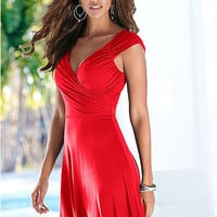 V-Neck Ruched Sleeveless A-Line Dress