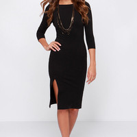 LULUS Exclusive Closing Time Black Midi Dress