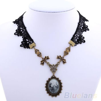 Lolita Goth Cameo Copper Bowknot Floral Black Lace Handmade Necklace = 1946084612