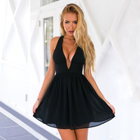 Solid Color Chiffon V-Neck Sleeveless Strap Mini Dress
