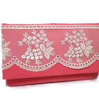 White Lace Clutch in Coral Pink Bridesmaid Clutch Wallet Lace Purse Christmas Gifts