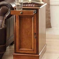 Honey finish wood chair side end table with storage cabinet and pull out drink tray