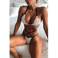 White Lace Halter Bralette and Strappy Thong Lingerie Set