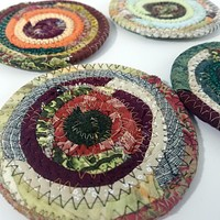 Earth Colors Fabric Coasters Set of 4, Handmade, Coiled Rope, Hippie, Cloth Drink Coasters