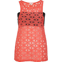 River Island Womens Coral lace bandeau tank