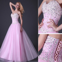 Stunning Sequins Beaded Corset Evening/Formal/Ball gown/Party/Prom dress Long