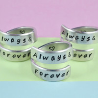 Always&Forever - Spiral Rings Set (3 Rings), Hand Stamped, Handwritten Font, Shiny Aluminum, Friendship, BFF