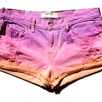 Distressed Ombre High Waisted Cut Off Sunset by SIRLOINboutique