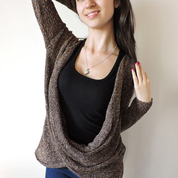 FREE SHIPPING Twisted blouse Brown knit blouse Wool and cotton blouse Chocolate blouse Long sleeve blouse Loose top