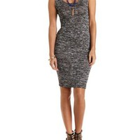 Cut-Out Marled Knit Bodycon Dress