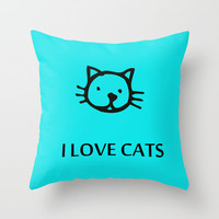 I LOVE CATS BLUE Throw Pillow by catspaws