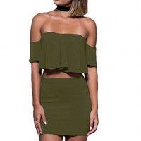 Halter Off Shoulder Two Piece Dress Outfit