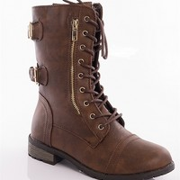 Forever Marching Orders Combat Harness Boots - Brown