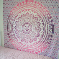 New design!! QUEEN Size Eye-catching Pink&Purple Indian Mandala/TAPESTRY/beach blanket/college dorm room decor/bed cover