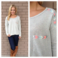 Grey Neon Embroidered Pocket Long Sleeve Sweater Top