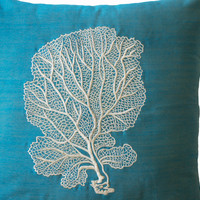 Ivory Coral Fan Embroidered Pillow Cover - Blue Embroidery Pillows- Nautical Pillow- Oceanic Cushions-Blue Cushion- Decorative Throw Pillow