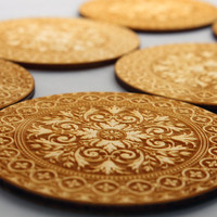 Engraved wooden coasters set  of 6 (Arabesque A)