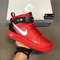 Nike Air Force 1 Mid AF1 high-top men's and women's wild fashion sports shoes Red
