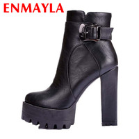 ENMAYLA Women Winter Boots Fur Inside Punk Style Zip and Buckle Square Heel Ankle Boots Martin Boots Big Size 34-42