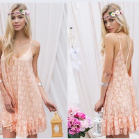 Women Sexy Sweat Flower Print backless Chiffon Lace Beach Club Party Dress = 1705167172