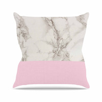 """Suzanne Carter """"Marble And Pink Block"""" Modern Contemporary Throw Pillow"""