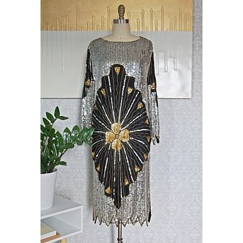 Vintage Hand-Beaded  Sequin Silk Dress