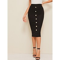 Peals Button Detail Pencil Skirt