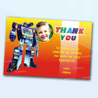 Transformer Colorful Thank You Card the beautiful personalized  card as a digital file
