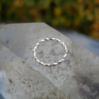 Septum Ring/Nose ring  Textured Sterling Silver Handcrafted