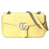 GUCCI Bag Macaron marmont wave  G buckle Heart Shoulder Bag Crossbody Bag Yellow