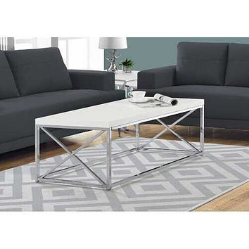 """17"""" Particle Board and Chrome Metal Coffee Table"""