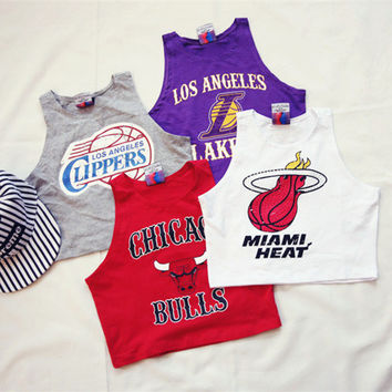 Fashion Casual Letter Pattern Print Sleeveless Vest T-shirt Crop Tops