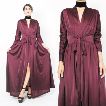 1970s Pegnoir Dressing Gown Wine Red Robe Jersey Knit Vintage Wrap Robe Maxi Dress Old Hollywood Bombshell Burlesque Lingerie (XS/S)