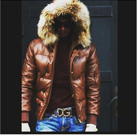 Mens Leather Jacket a Hooded Puffy style with Real Fur Trim