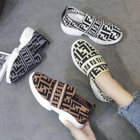 FENDI plus size women's shoes wool lining round toe casual shoes sneakers