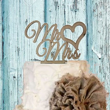 50% OFF TODAY Mr & Mrs with Heart Wedding Cake Topper - Acrylic Cake topper or Rustic Wood Cake topper