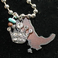Rustic Iron Cowboy Cowgirl Boot with Rhinestone Encrusted Crown and Turquoise and Copper Beads