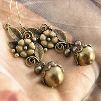 Antique Gold Flower and Leaf Earrings Bronze Swarovski Crystal Pearl Earrings Vintage Style Earrings