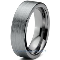 6mm Brushed Silver Pipe Cut Tungsten