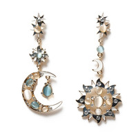 1Pair Fashion Elegant Rhinestone Resin Star Sun Moon Charm Long Dangle Earrings (Color: Multicolor) = 1946587140