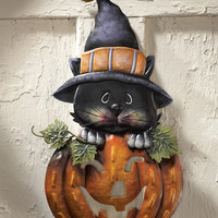 Pumpkin & Kitty Metal Halloween Door Decoration